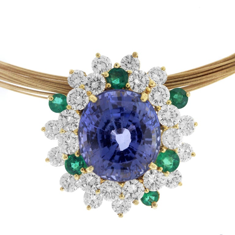 Blue and Green Sapphire Diamond Pendant Necklace and Earrings Set In Excellent Condition For Sale In Boca Raton, FL