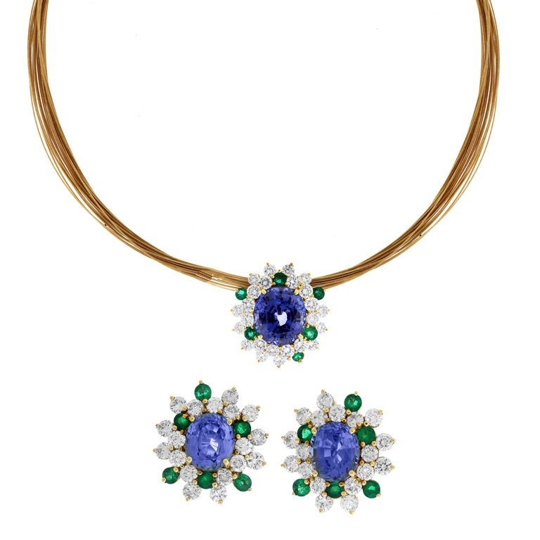 Blue and Green Sapphire Diamond Pendant Necklace and Earrings Set For Sale