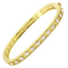 Bangle Cuff Bracelet with Diamonds in Yellow Gold Stambolian
