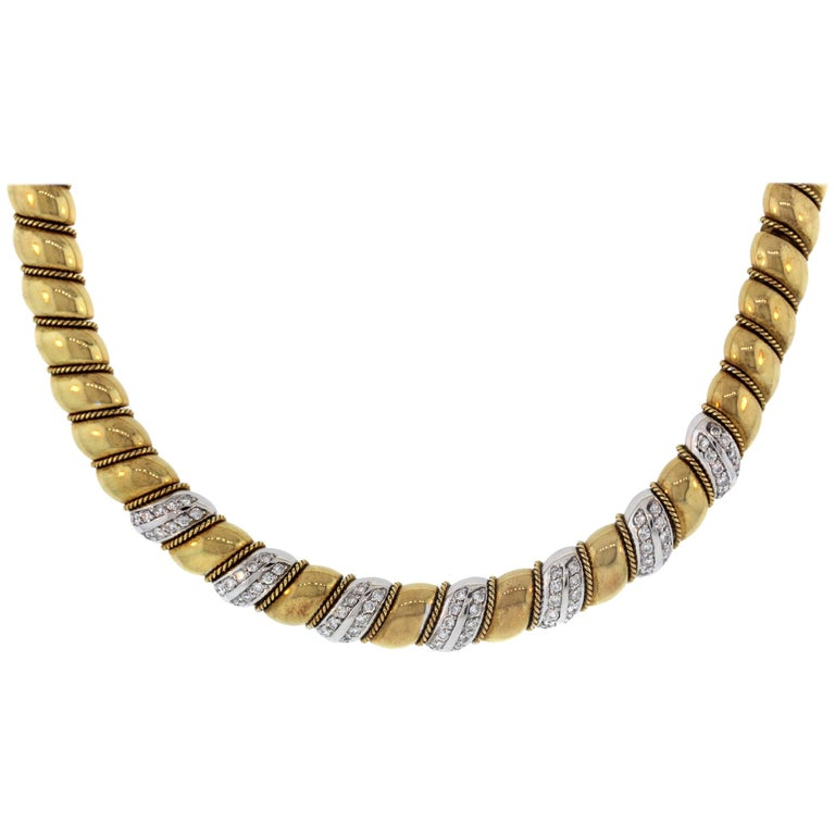 Yellow White Gold and Diamond Necklace Sabbadini For Sale