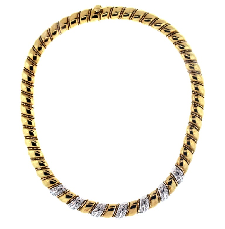 Women's Yellow White Gold and Diamond Necklace Sabbadini For Sale