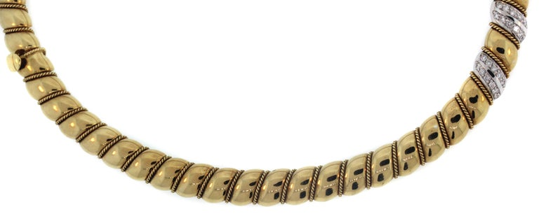 Yellow White Gold and Diamond Necklace Sabbadini For Sale 1
