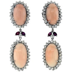 Angel Coral and Diamond Drop Earrings with Ruby