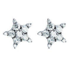 22 White Diamonds 1.01 Carat 18 Karat White Gold Ear Studs