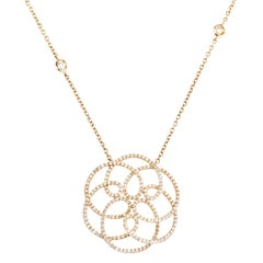 18 Karat Yellow Gold with 482 White Diamonds 1.98 Carat Necklace Pendant