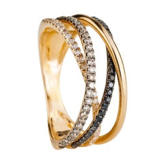 Black and White Diamond Rosé Gold Ring