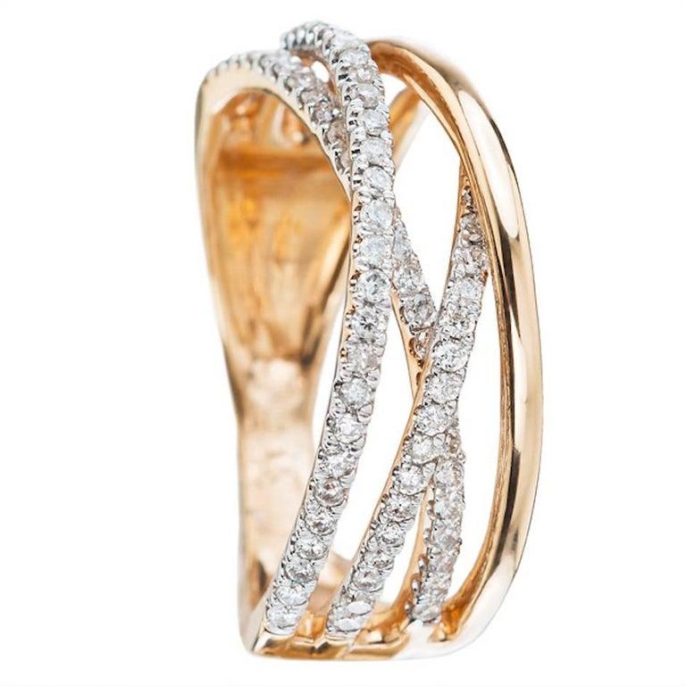 6 White Diamond 18 Karat Rosé Gold Band Ring