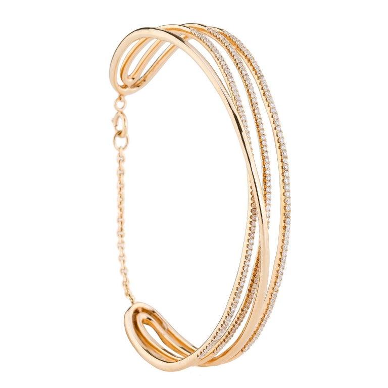 204 White Diamonds 0.98 Carat 18 Karat Rosé Gold Bracelet