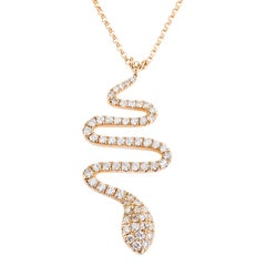 62 White Diamonds 0.50 Carat 8 Karat Yellow Gold Snake Shaped Necklace