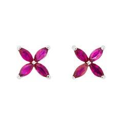 Earrings Beautiful Pink Flower, Eight Ruby, 18 Karat White Gold, Flower
