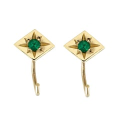 Ellie Air Star Set Emerald Gold Sleeper Huggie Earrings