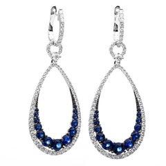 Carlos Udozzo 18 Karat White Gold Ladies Diamond and Blue Sapphire Earrings