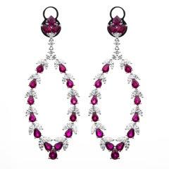 Carlos Udozzo 18 Karat White Gold Lady Red Ruby Diamonds Earrings
