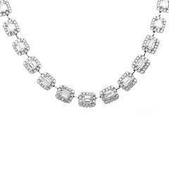Carlos Udozzo Ladies 18 Karat White Gold Emerald/Brilliant Cut Diamond Necklace