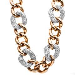 Carlos Udozzo 18 Karat Rose/White Gold Unisex Brilliant-Cut Diamond Necklace