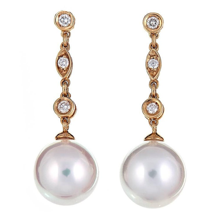 White South Sea Pearl and Diamond Yellow Gold Drop Earrings