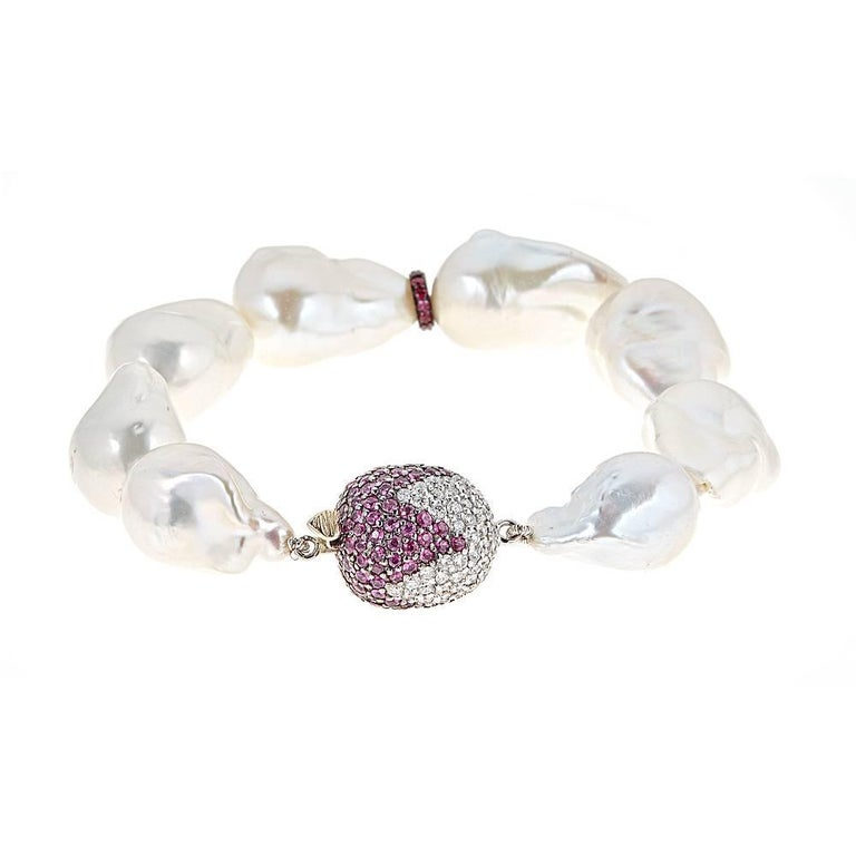 Baroque Pearl with Pink Sapphire, Ruby and Diamond Accent White Gold Bracelet
