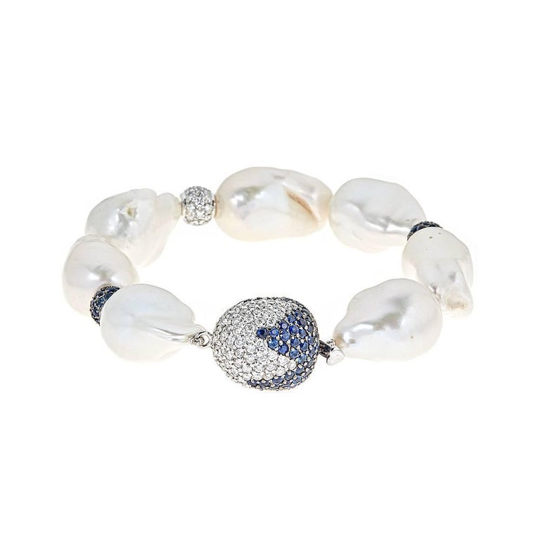 Baroque Pearl with Blue Sapphire and Diamond Accent White Gold Bracelet