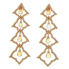 6.05 Carat Citrine Briolette and Yellow Gold Tiered Earring