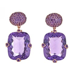 50.80 Carat Round and Cushion Amethyst Rose Gold Drop Earrings