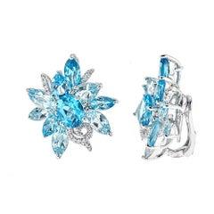 25.74 Carat Blue Topaz and 0.35 Carat Diamond White Gold Earrings