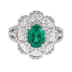 1.90 Carat Oval Emerald with 2.20 Carat Diamond White Gold Cocktail Ring