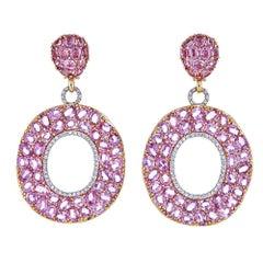 51.03 Carat Oval Pink Sapphire with 1.08 Carat Diamond Rose Gold Drop Earrings