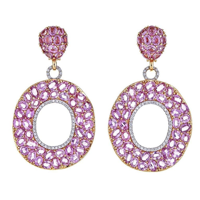 51.03 Carat Oval Pink Sapphire with 1.08 Carat Diamond Rose Gold Drop Earrings