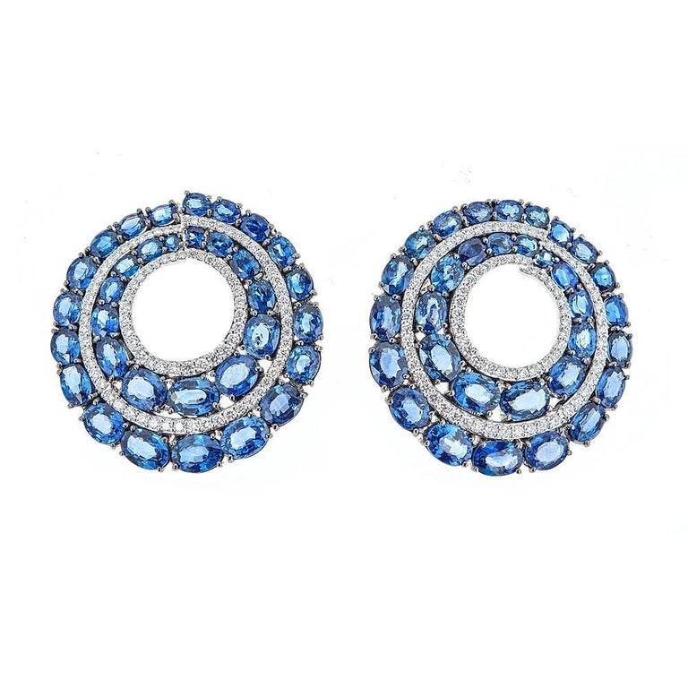 31.94 Carat Blue Sapphire and 2.26 Carat Round Diamond White Gold Earrings