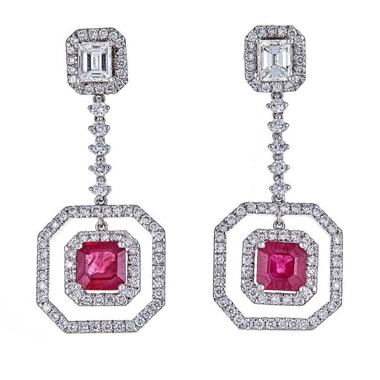 2.54 Carat Ruby and 2.70 Carat Diamond White Gold Drop Earrings