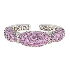 50.99 Carat Oval Pink Sapphire and Diamond White Gold Bracelet