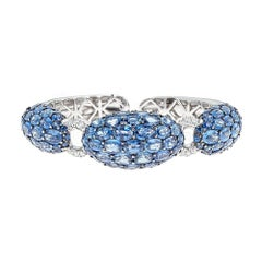 50.70 Carat Oval Blue Sapphire and Diamond White Gold Bracelet
