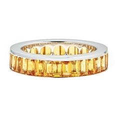 6.30 Carat Yellow Sapphire White Gold Eternity Ring