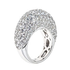 10.30 Carat White Sapphire White Gold Cocktail Dome Ring