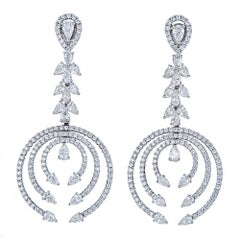 5.56 Carat Diamond White Gold Drop Earrings