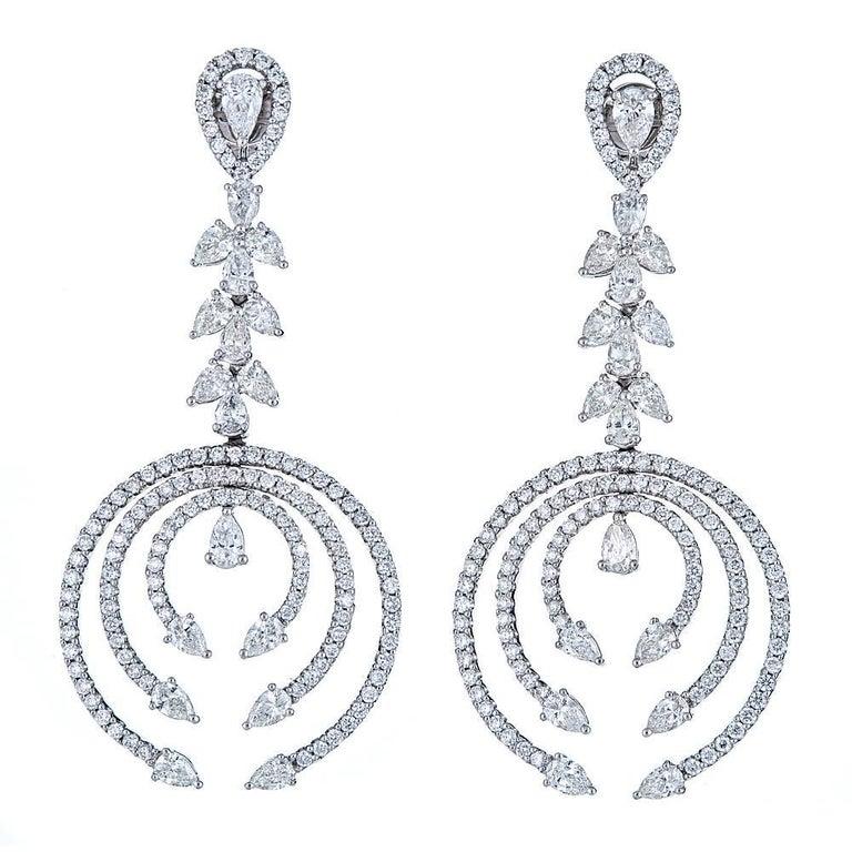 5.56 Carat Diamond White Gold Drop Earrings