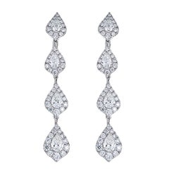 3.45 Carat Pear Shape Diamond Tiered White Gold Drop Earrings