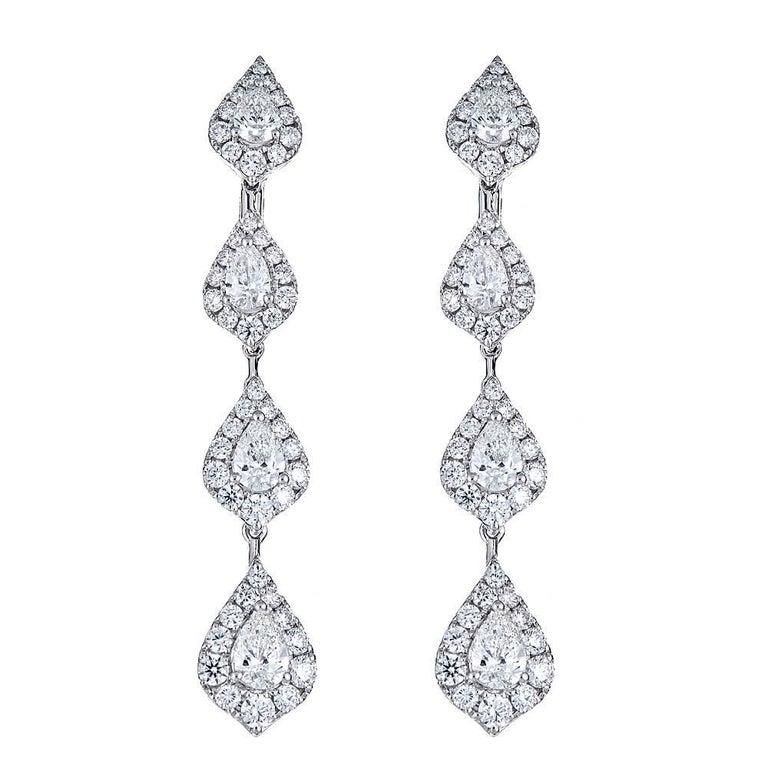 3.45 Carat Pear Shape Diamond Tiered White Gold Drop Earrings