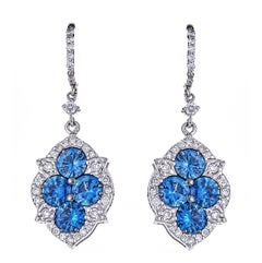 4.06 Carat Blue Sapphire and 0.85 Carat Diamond White Gold Drop Earrings