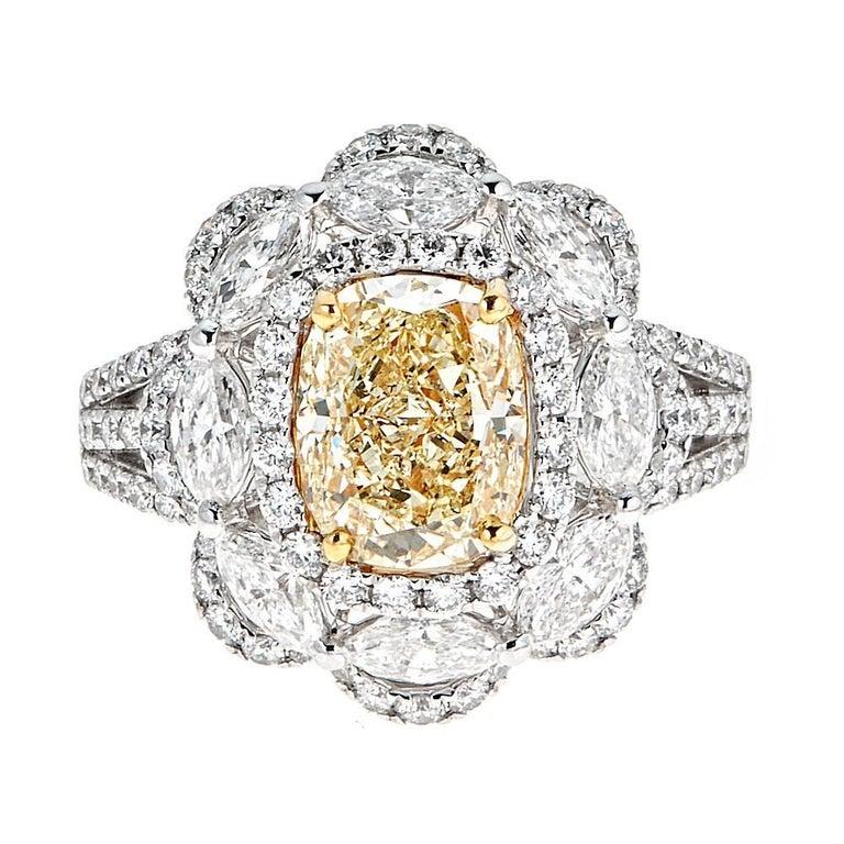 2.55 Carat Yellow Diamond and 2.20 Carat Diamond White and Yellow Gold Ring
