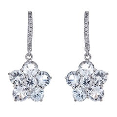 5.48 Carat White Sapphire and 0.13 Carat Diamond White Gold Flower Earrings