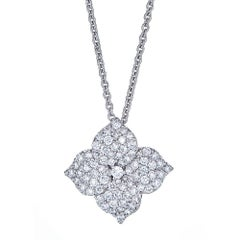 1.14 Carat Pave Diamond White Gold Flower Pendant with Chain