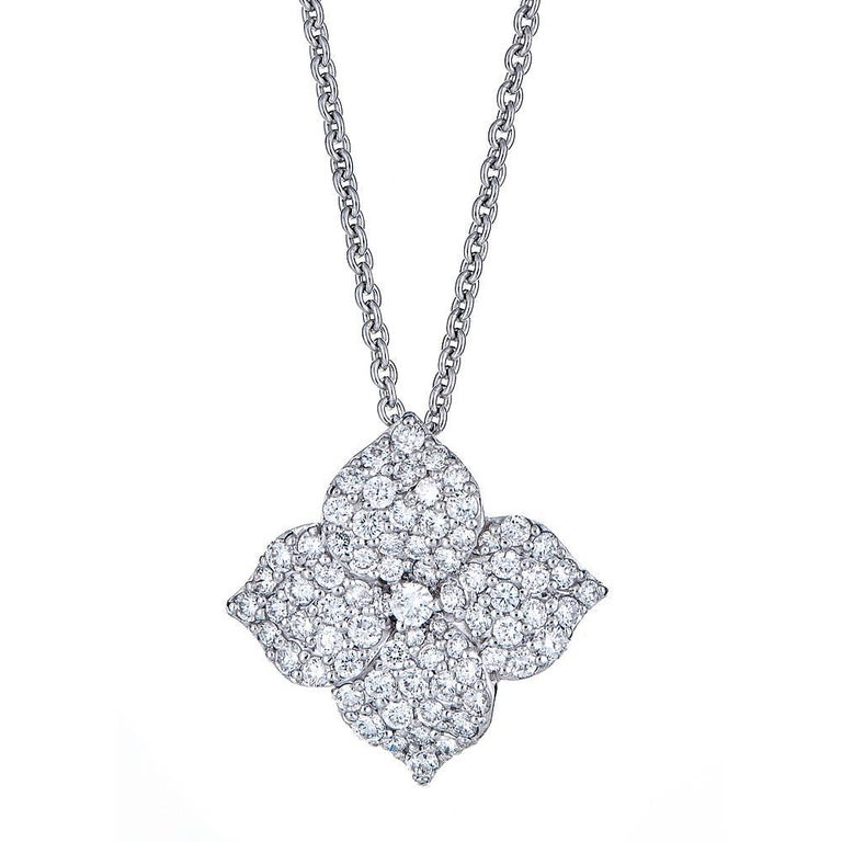 1.41 Carat Pave Diamond White Gold Flower Pendant with Chain