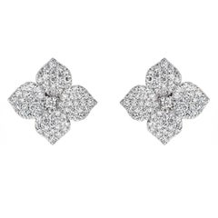 1.50 Carat Pave Diamond White Gold Flower Earrings