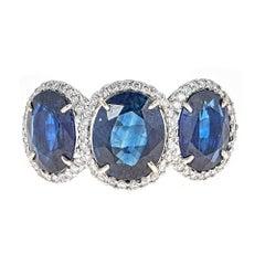 8.50 Carat Blue Sapphire White Gold Three-Stone Ring