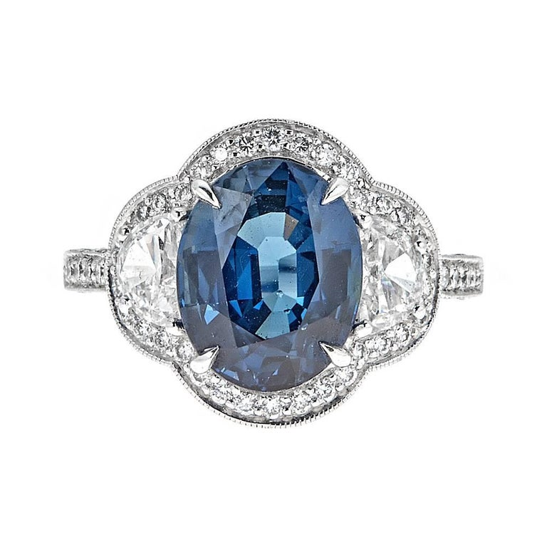 5.22 Carat Blue Sapphire and Half Moon Diamond White Gold Ring For Sale
