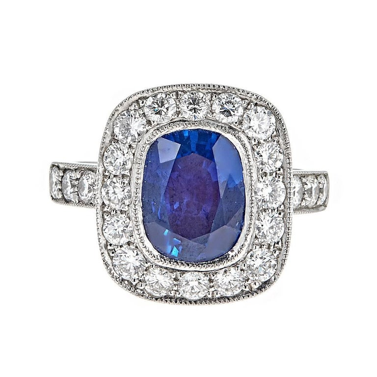 GIA Certified 4.09 Carat Blue Sapphire and 1.40 Carat Diamond Platinum Ring