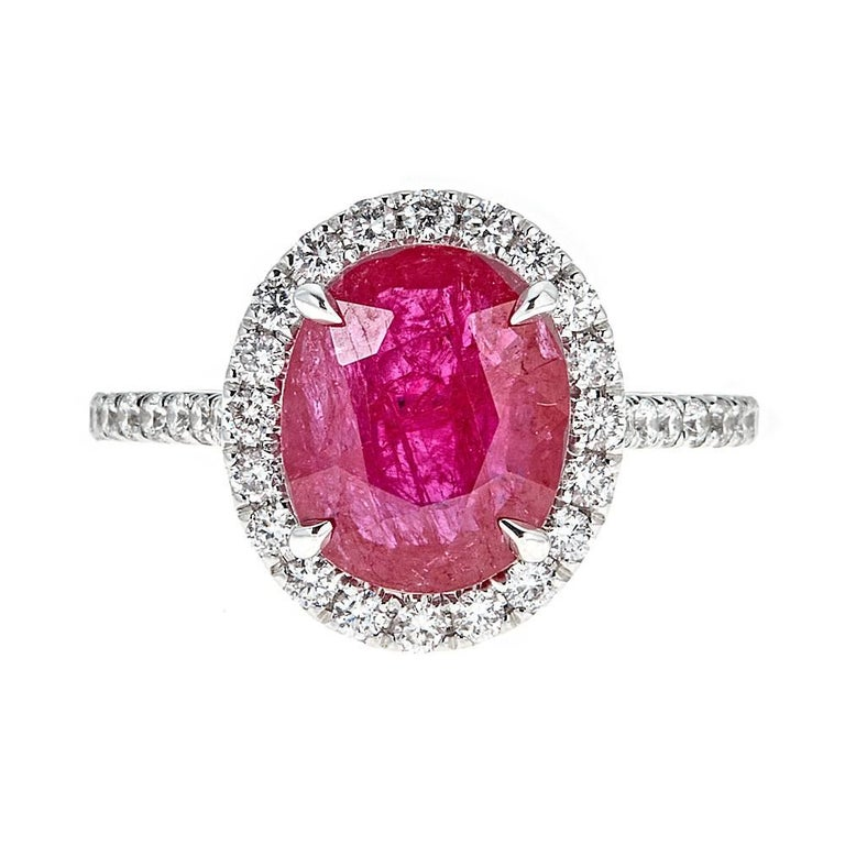 3.18 Carat Oval Ruby and 0.78 Carat Diamond White Gold Ring