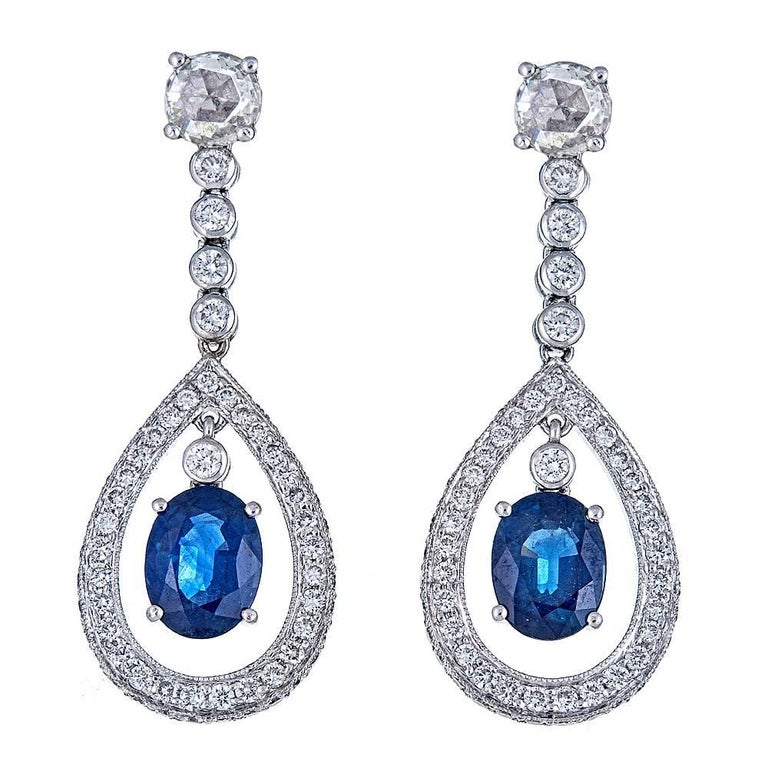 3.30 Carat Blue Sapphire and 2.28 Carat Diamond White Gold Drop Earrings