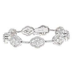 7.18 Carat Round Diamond White Gold Link Bracelet
